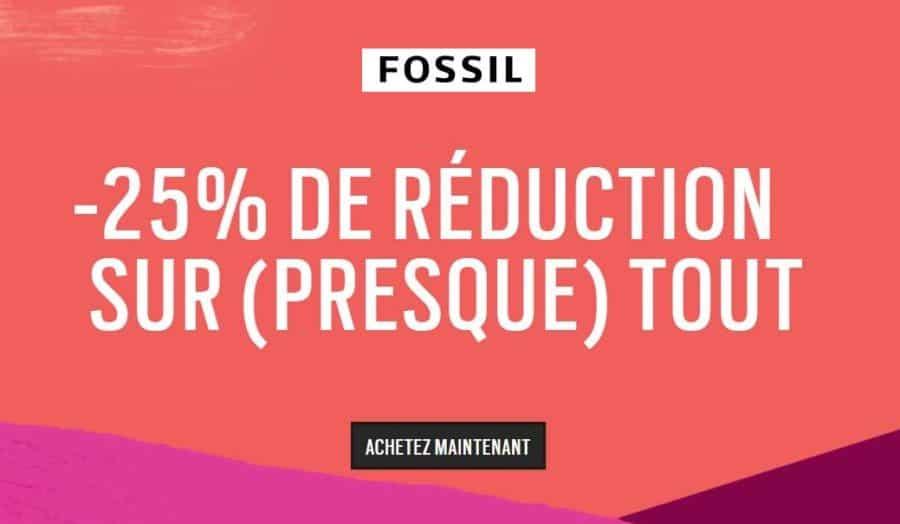 25% de remise sur tout le site FOSSIL