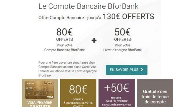 80€ offerts pour l'ouverture d'un compte BforBank