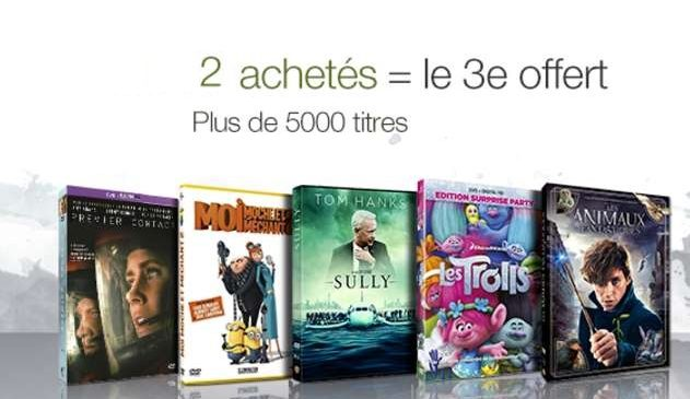 Promotion 2 videos achetees 1 gratuite DVD Blu-Ray Serie TV