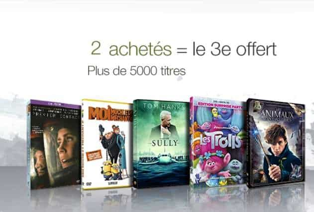 Promotion 2 videos achetees 1 gratuite DVD Blu-Ray Serie TV