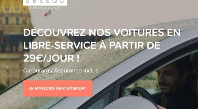 Remise de 20€ sur la location d'une voiture Ubeeqo