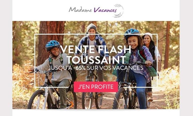 Vente flash vacances de la Toussaint avec Madame Vacances