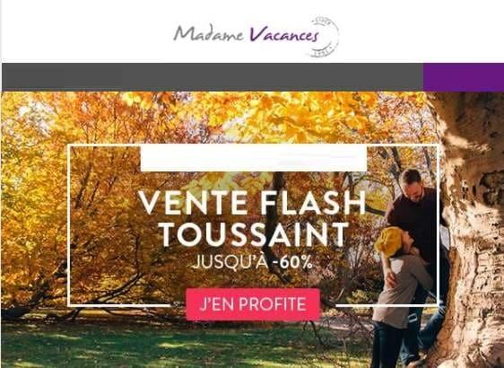 Vente flash vacances de la Toussaint