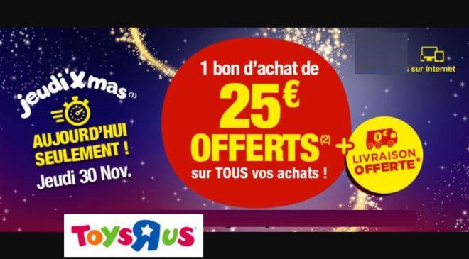 1 bon d'achat de 25€ offerts pour 100€ d'achat sur Toys'R US