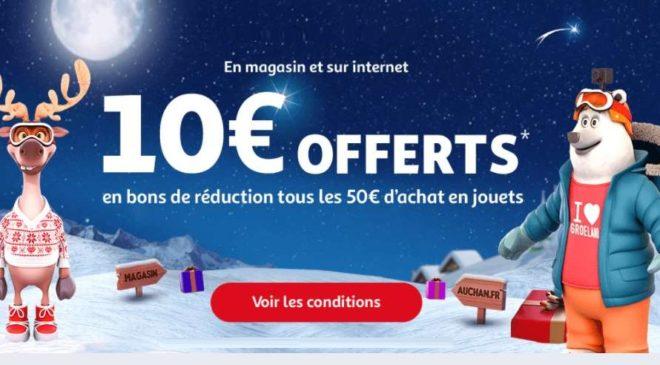 10€ par tranche de 50€ d'achat rayon jouet Auchan