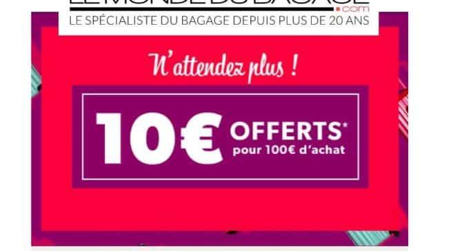Bon plan bagages 10€ offert sur Le Monde du Bagage