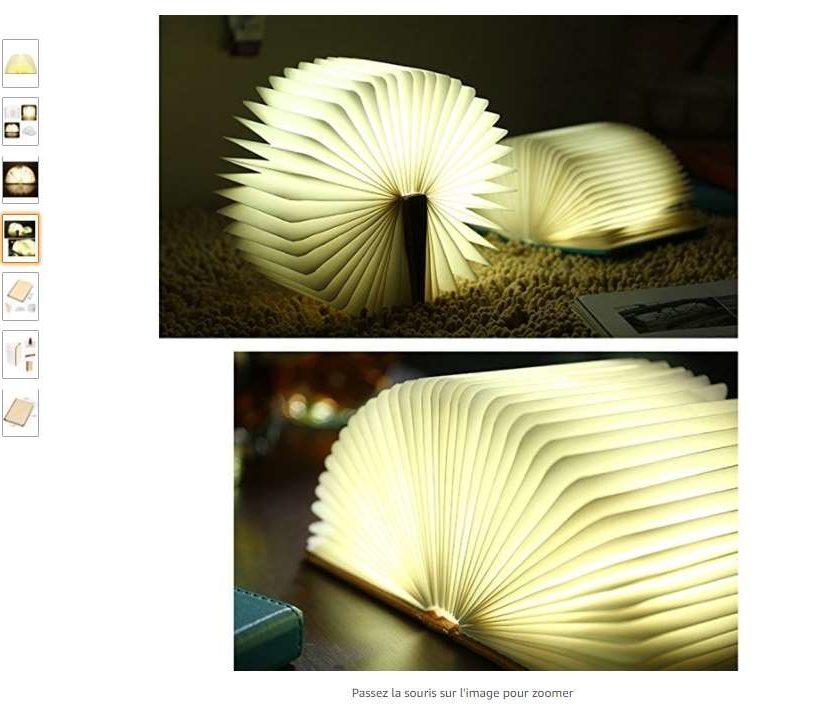 lampe LED forme de livre pliante rechargeable