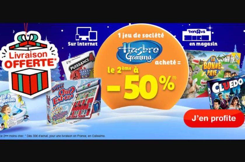 1 jeu Hasbro Gaming acheté = le second à moitié prix