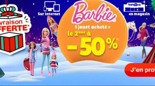 1 jouet Barbie acheté = le second à moitié prix