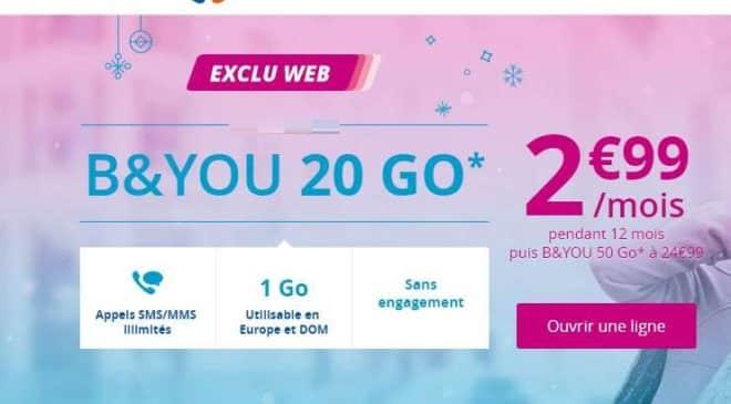 2,99€ le forfait B&YOU 20Go