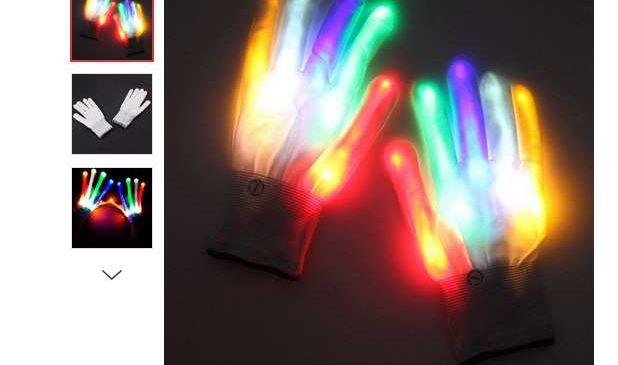 3,34€ les gants lumineux LED pour adulte