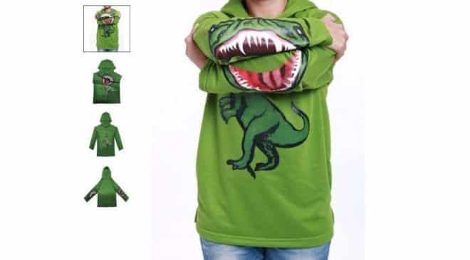 4,68€ le sweat capuche motif dinosaure enfant