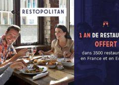 Carte Restopolitan à 25€ au lieu de 120€ (1 repas offert à chaque addition pendant 1 an)
