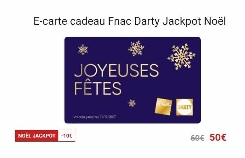 Ecarte Cadeau Noël Jackpot : carte cadeau 60€ pour 50€