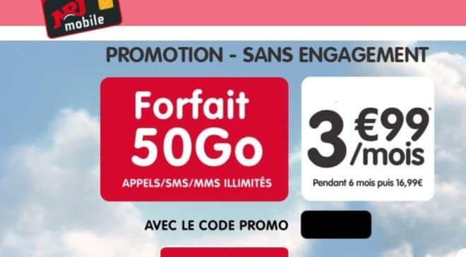 Forfait 50Go NRJ Mobile à 3,99€ mois
