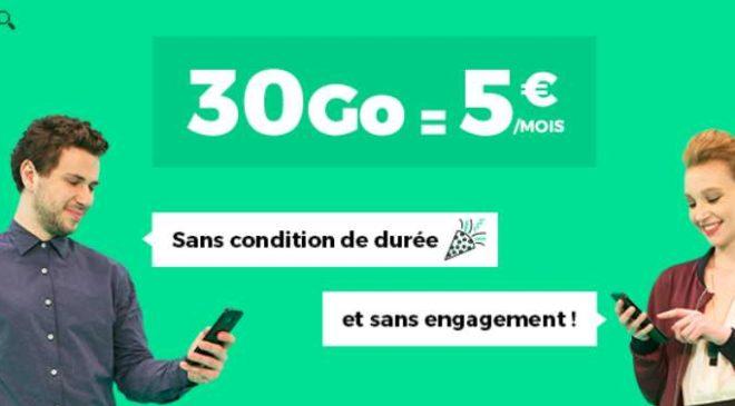 Forfait RED SFR 30Go seulement 5€ à vie