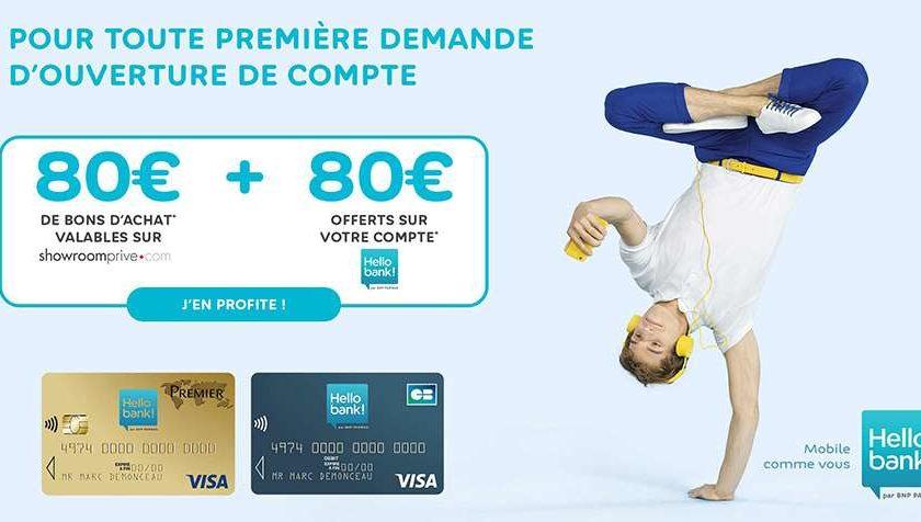 Hello Bank ! 80€ offerts + 80€ en bon d'achat ShowroomPrivé