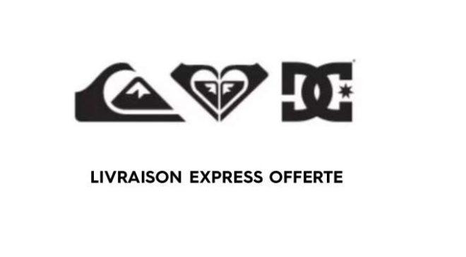 Livraison express gratuite sur Quiksilver, Roxy et DC Shoes