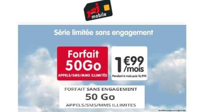 Vente Privée forfait 50Go NRJ Mobile à 1,99€
