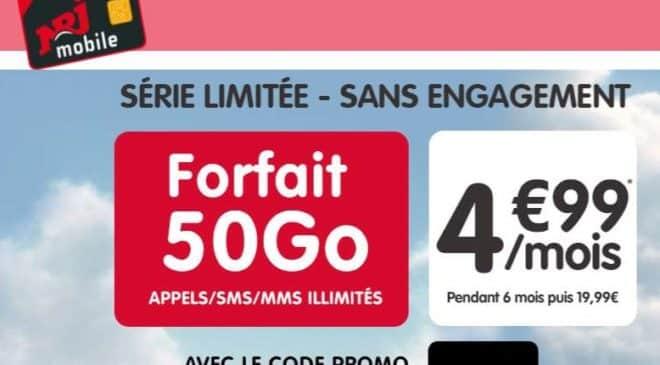 Vente flash : Forfait 50Go NRJ Mobile à 4,99€/mois