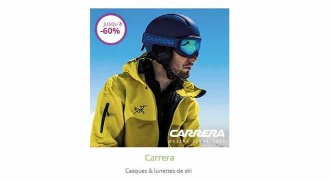 Vente privée Carrera masques et casques de ski : de -55% à -60% (dès 17,99€ masque / 34,99€ casque)