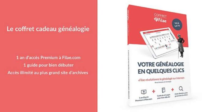 Vente privée coffret cadeau Filae : 35€ (abonnement 1 an + guide création d'arbre généalogique) au lieu de 77€