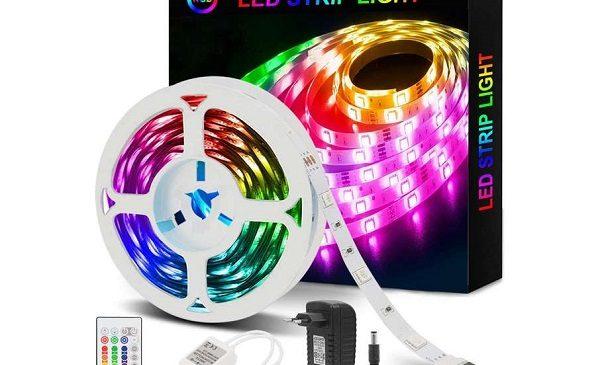 bande LED multicolore 5m avec télécommande et adaptateur Azhien