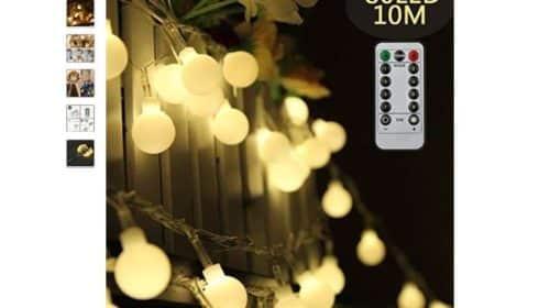 moins de 11€ la guirlande 80 LED boules avec télécommande