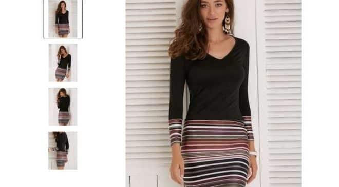 seulement 4,25€ la robe courte rayée manche longue col V port inclus