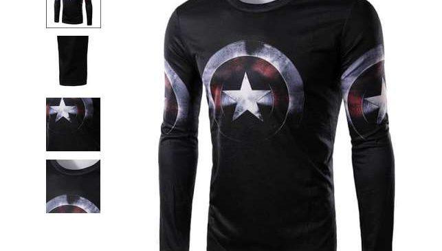 t-shirt Captain America homme manche longue 3D