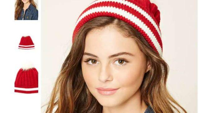 2,75€ le bonnet rayé rouge avec pompon Forever 21 port inclus (au lieu de 11€)
