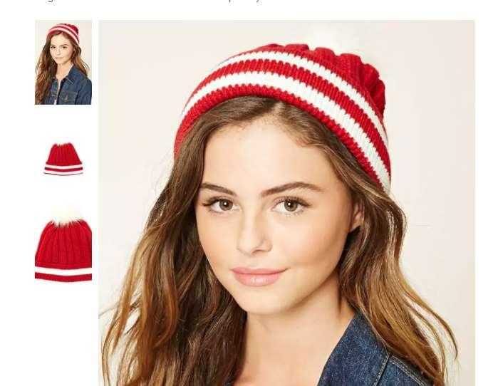 2,75€ le bonnet rayé rouge avec pompon Forever 21