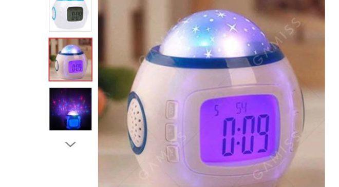 5,46€ le réveil projecteur d'étoiles musical