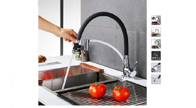 59,99€ robinet de cuisine chromé avec douchette détachable et tuyau souple Homelody
