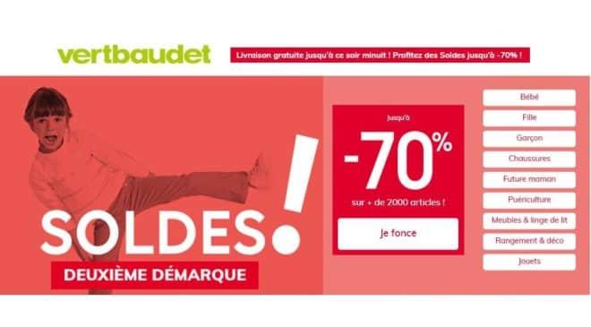 Jusqu'à -70% et livraison gratuite sur les soldes Vert Baudet