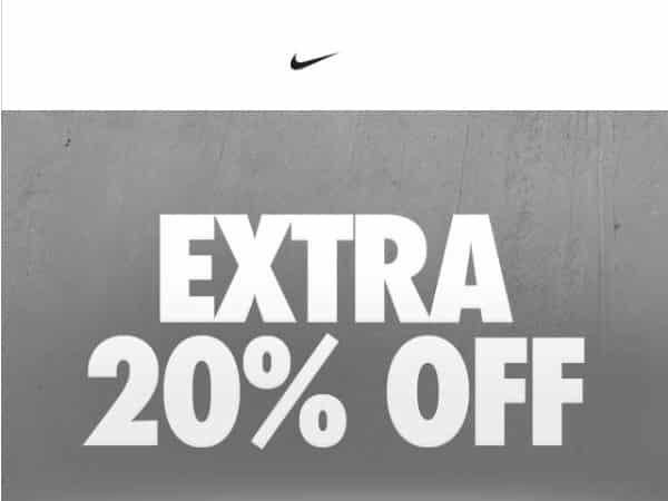 code 20% supplémentaires sur les soldes Nike