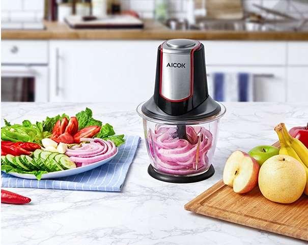 hachoir électrique viande et légumes Aicok bol verre 1,2l pas cher