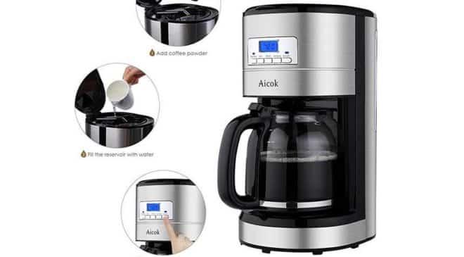 moins de 30€ cafetière programmable inox 12 tasses Aicok port inclus