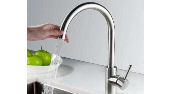 robinet de cuisine acier chrome brossé anti-choc, anticalcaire, anti-empreinte Homelody rotatif à 360
