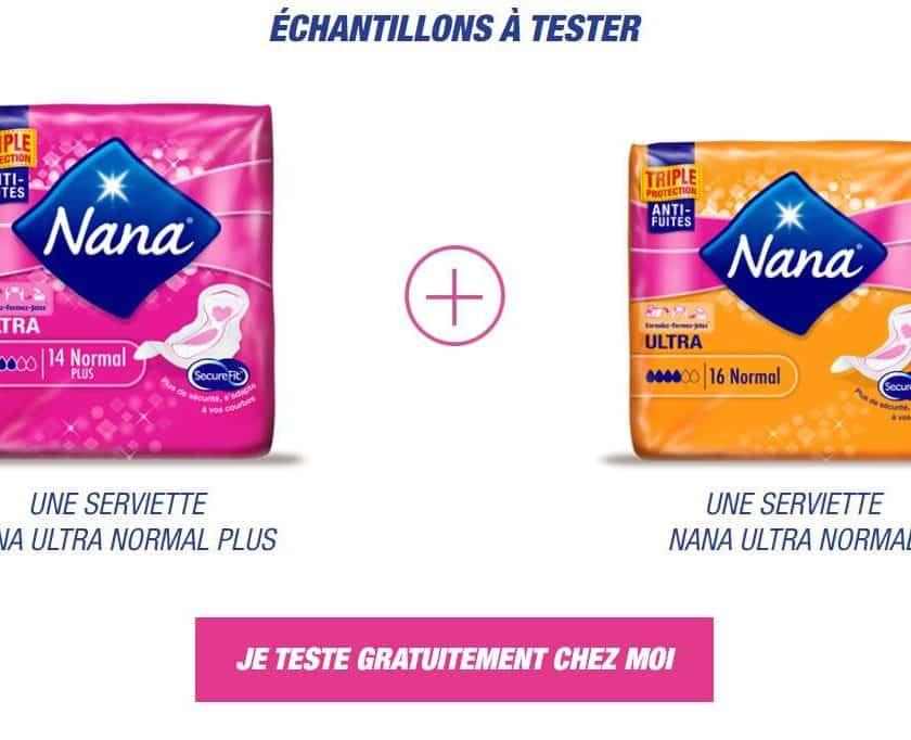2 serviettes hygiénique Nana Ultra gratuites