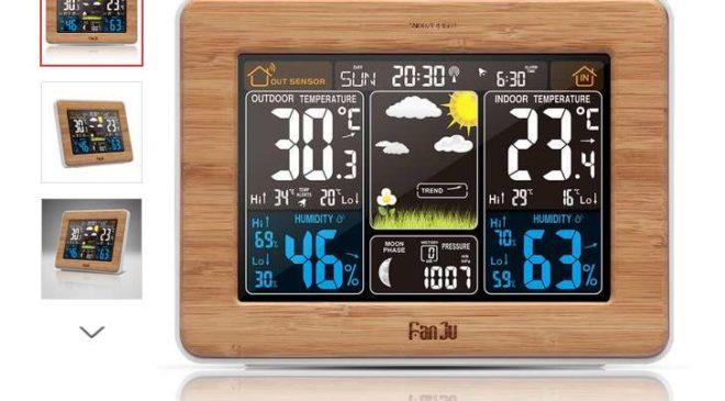 21€ la station météo avec écran couleur et cadre en bois