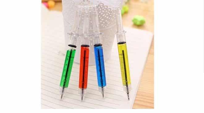 6 stylos à bille seringue à 0,01€
