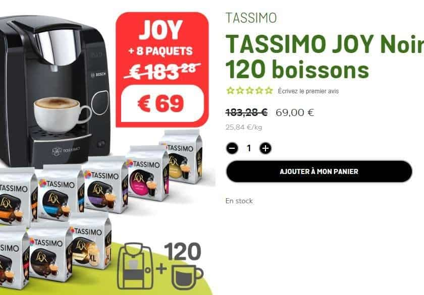 69€ la machine Tassimo Bosch Joy + 120 boissons