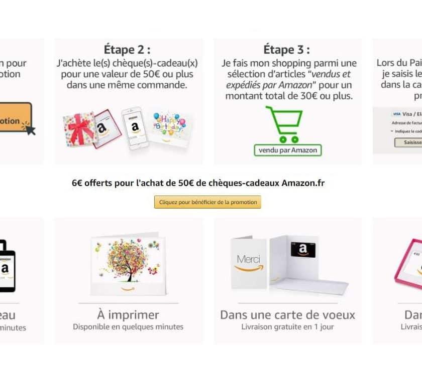6€ offerts pour 50€ de carte cadeau Amazon