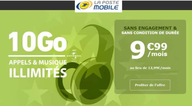 9,99€ La Poste Mobile Forfait 10go à 9,99€ à vie