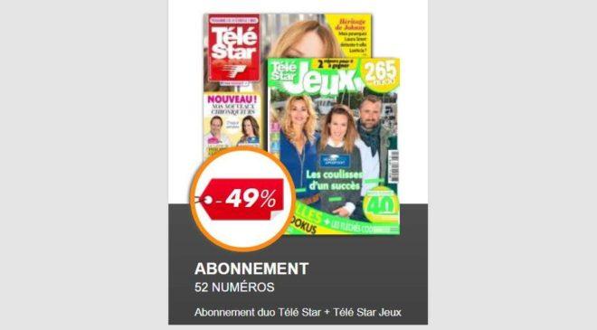Abonnement Pack Télé Star et Télé Star Jeux 1 an moitié prix