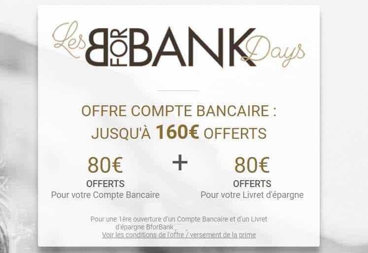 BforBank Days 160€ offerts ouverture compte et livret épargne