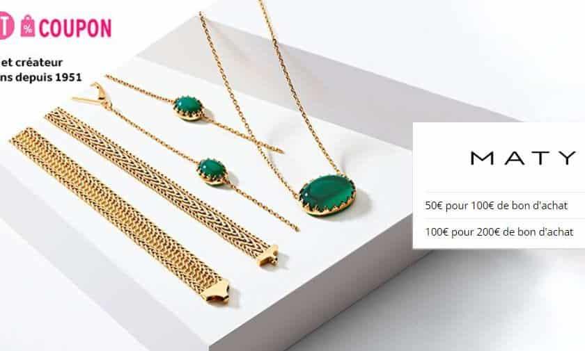 Bijoux Maty 50€ le bon d'achat de 100€ ou 100€ le bon d'achat de 200€