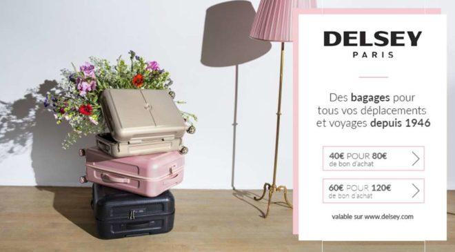 bon d achat bagages delsey moiti prix 40 les 80 d achats ou 60 les 120. Black Bedroom Furniture Sets. Home Design Ideas