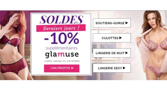Dernière démarque soldes Glamuse : plus de 2000 modèles de lingerie à -50% et plus + 10% supplémentaire